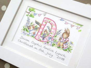 Personalised girl watercolour initial painting 6 by 8 inch