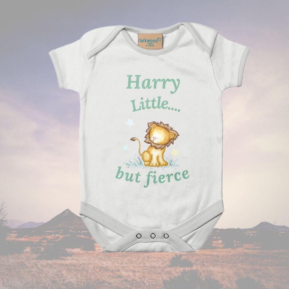 Lion  Little...but fierce babygrow / bodysuit Personalised