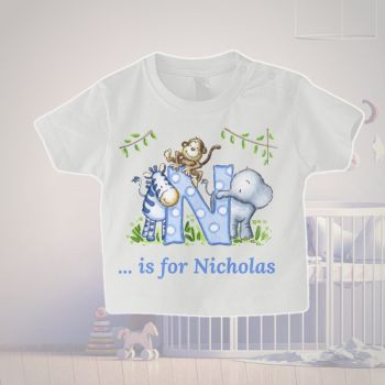 Initial and name personalised baby T shirt