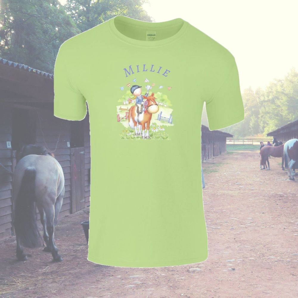 'At the horse show' Personalised Child's T-shirt