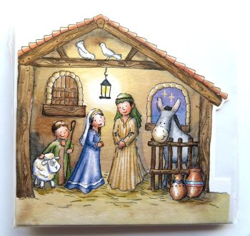 Nativity stable with cut outs