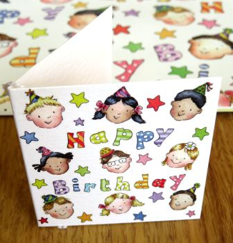 Happy birthday children - gift wrap and tag