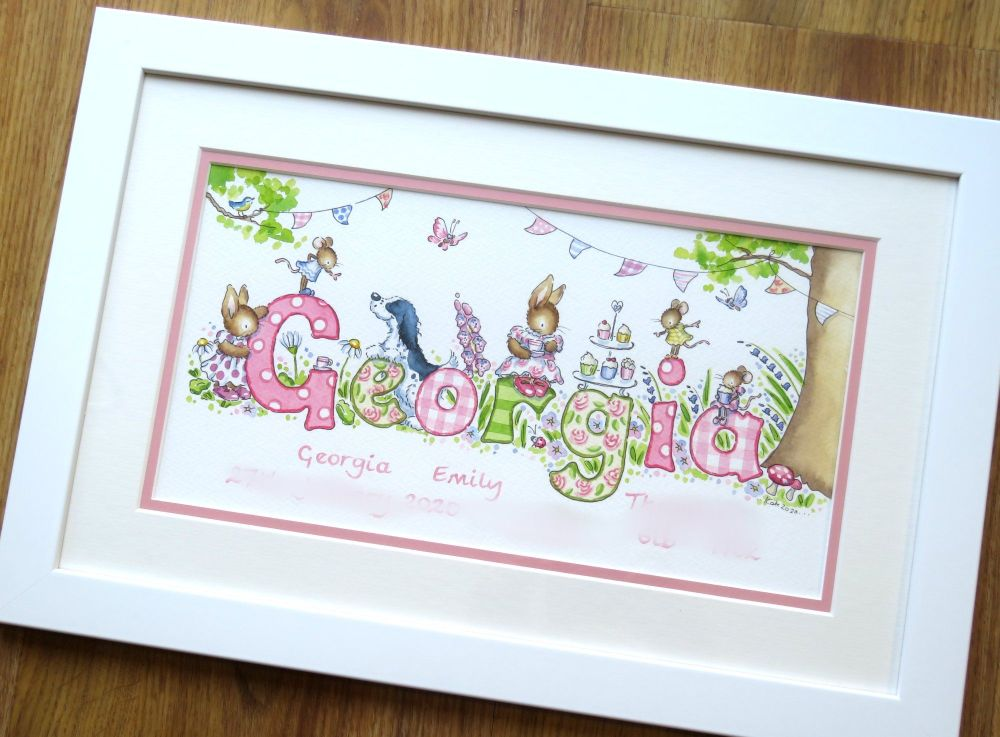 "Watercolour name picture 16"" by 10"" framed"
