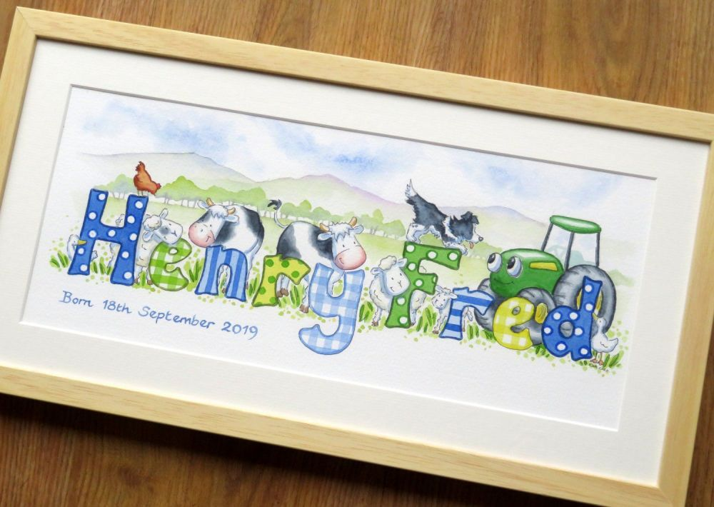 "Watercolour name picture 20"" by 10"" framed"