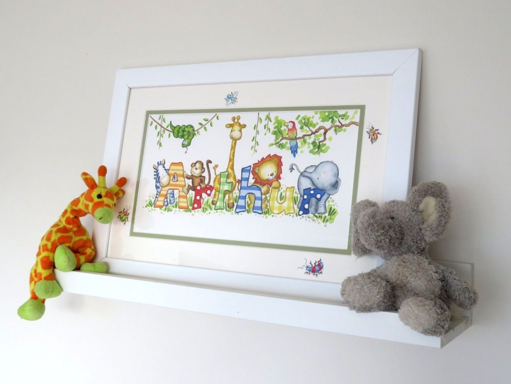 """Watercolour name picture 16"""" by 10"""" framed"""
