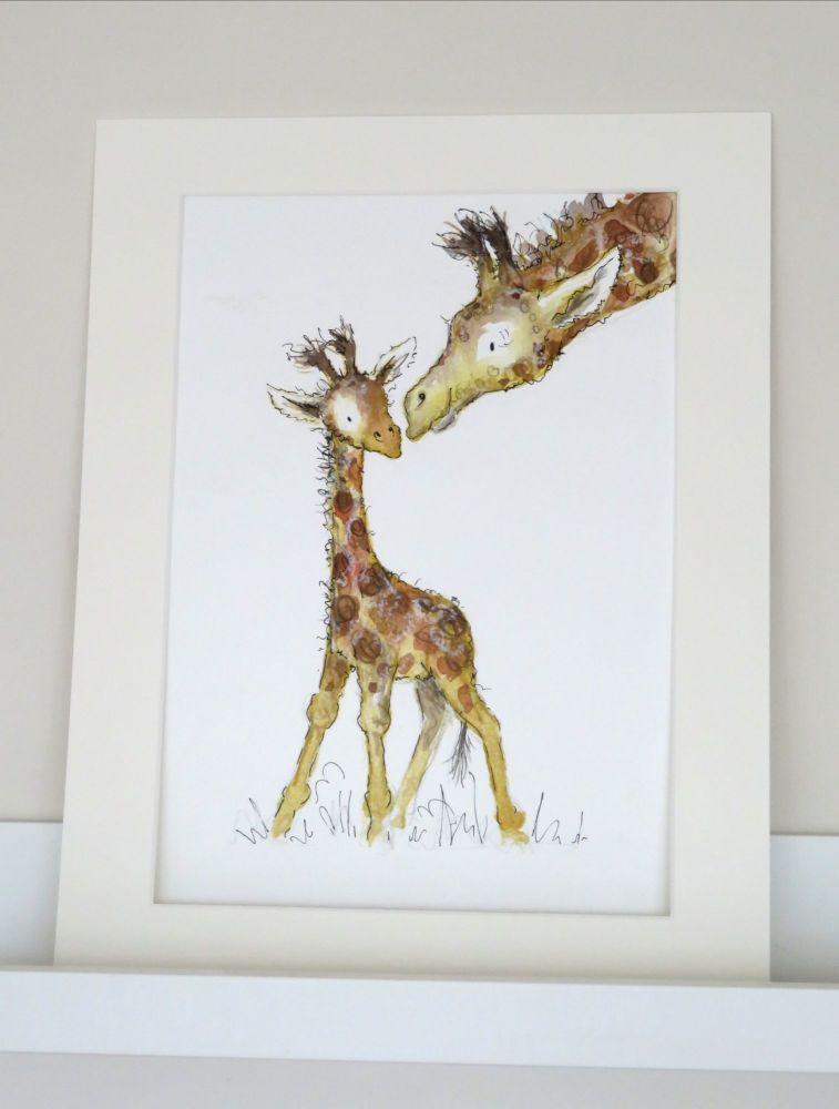 Baby giraffe and his mummy