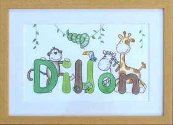 Dillon jungle name picture 14 by 10 inches