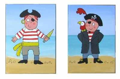 Pair of 7 by 5 inch canvas pirates