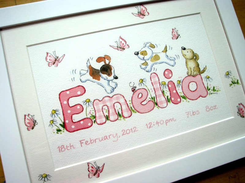 girl emelia puppies and butterflies
