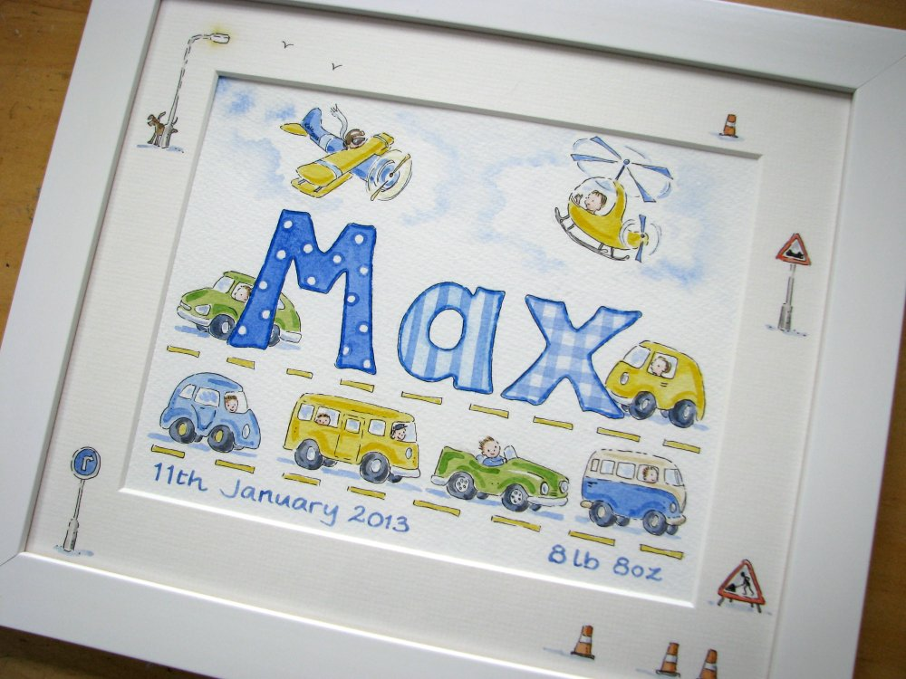 "Watercolour name picture 12"" by 10"" framed"