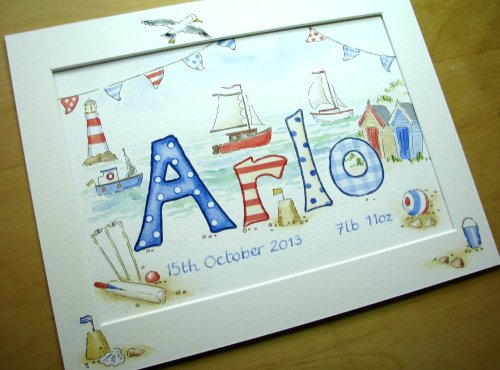 Watercolour name picture 12 by 10