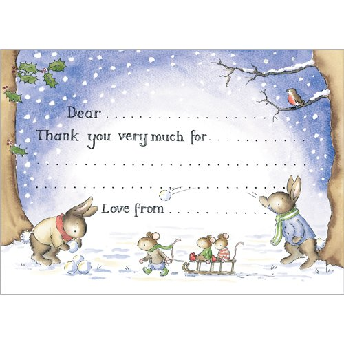 Christmas bunnies thank you cards