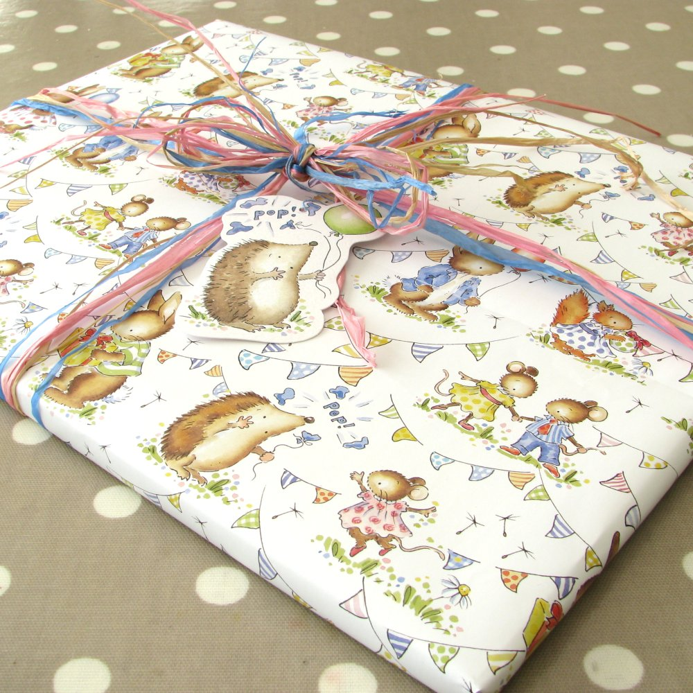 Little woodland animals folded gift wrap.