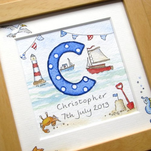 <!--020-->Personalised boy watercolour initial painting