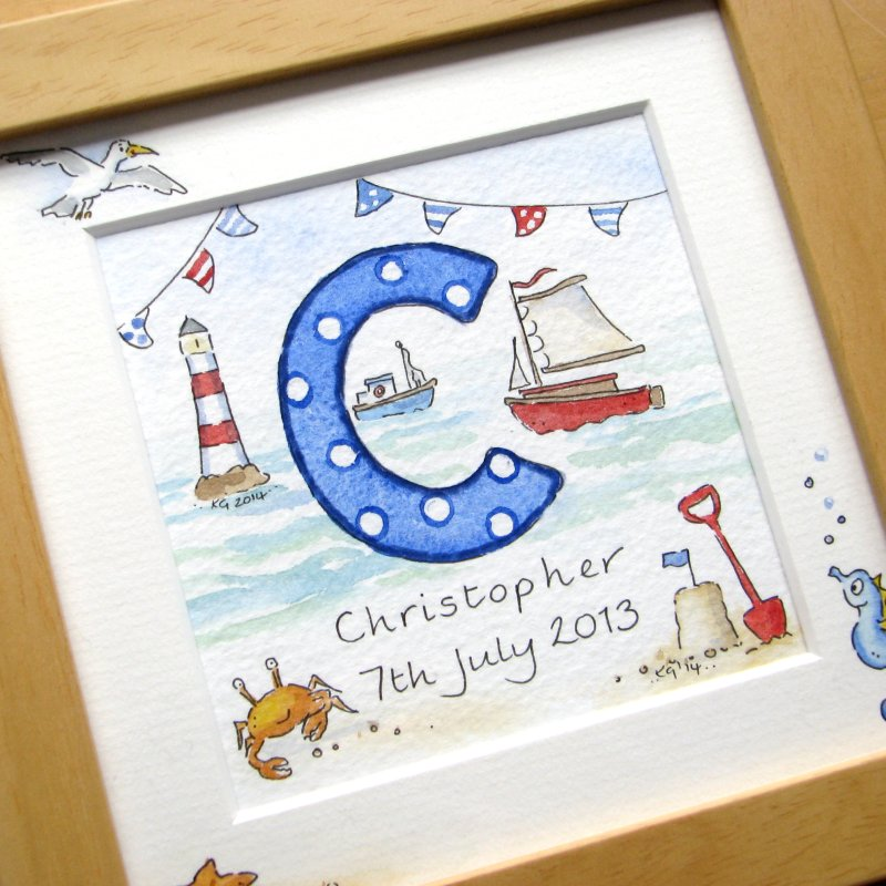 Personalised boy watercolour initial painting