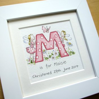 Personalised fairy watercolour  initial painting
