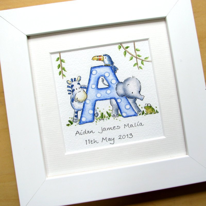 <!--040-->Personalised jungle watercolour initial painting