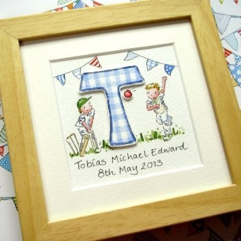 Personalised decoupage watercolour initial painting