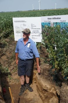 Dick Neale says water should percolate through soil slowly. (Pic taken by N
