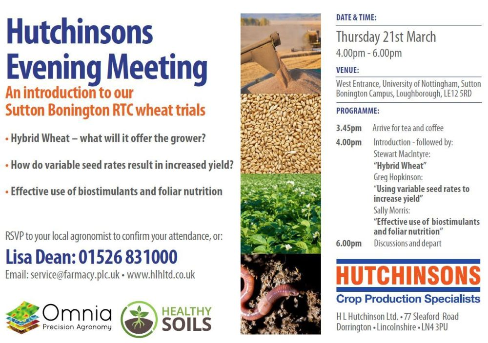 Sutton Bonington RTC March Open Day Invitation Hutchinsons