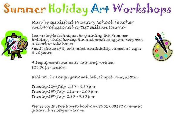Summer Holiday Art Workshops Fliers 2014