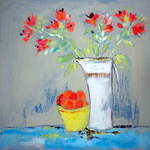 White Jug with Alstroemeria - 49 x 49 cms - Acrylic on Wood Panel