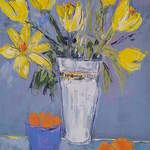Yellow Tulip Vase - 50 x 50 cms - Acrylic on Wood Panel SOLD