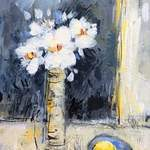White anemones with lemons- acrylic on canvas commission SOLD