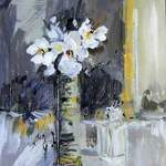 White Anemone Vase -  27 x 33 cms - Acrylic on Box Canvas SOLD
