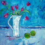 Tulip Jug with Apples - 53 x 53 cms - Acrylic on Box Canvas SOLD