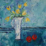 Yellow Tulips with Oranges - Acrylic on Box Canvas - 50 x 50 cms