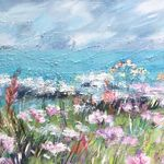 Flowers on the Clifftop, North Devon - Mixed media on canvas