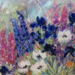 Mixed border with Irises and Delphiniums - Mixed media on canvas- 80 x 100c