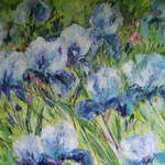 Blue Irises - Mixed Media and Acrylic on Canvas- 100 x 100 cms SOLD