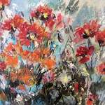 'Poppies and Day Lilies' - Mixed Media and Acrylic on Canvas - 50 x 50 cms
