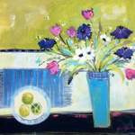 'Still Life with Tulips and Anemones' - Acrylic on Canvas - 64 x 64 SOLD