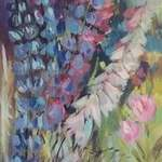 Delphiniums and Peonies - Acrylic on Canvas Panel - 30 x 90 cm