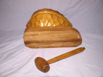 Large Wooden Nutcracker In The Shape Of A Walnut And Mallet (4)