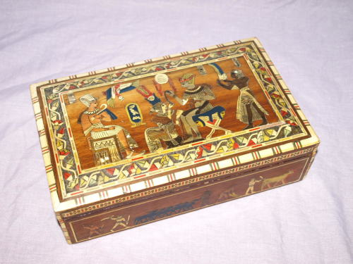 Egyptian Inlaid Wooden Box.