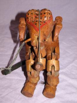 Vintage Wooden Marionette Elephant Puppet (2)