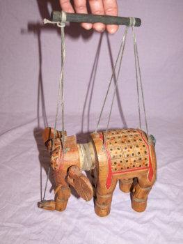 Vintage Wooden Marionette Elephant Puppet (3)