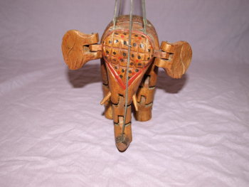 Vintage Wooden Marionette Elephant Puppet (4)