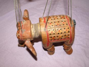 Vintage Wooden Marionette Elephant Puppet (6)