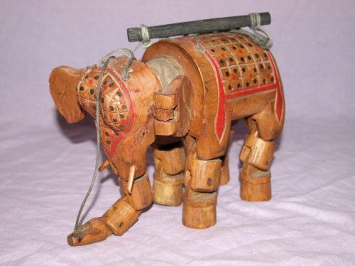 Vintage Wooden Marionette Elephant Puppet.