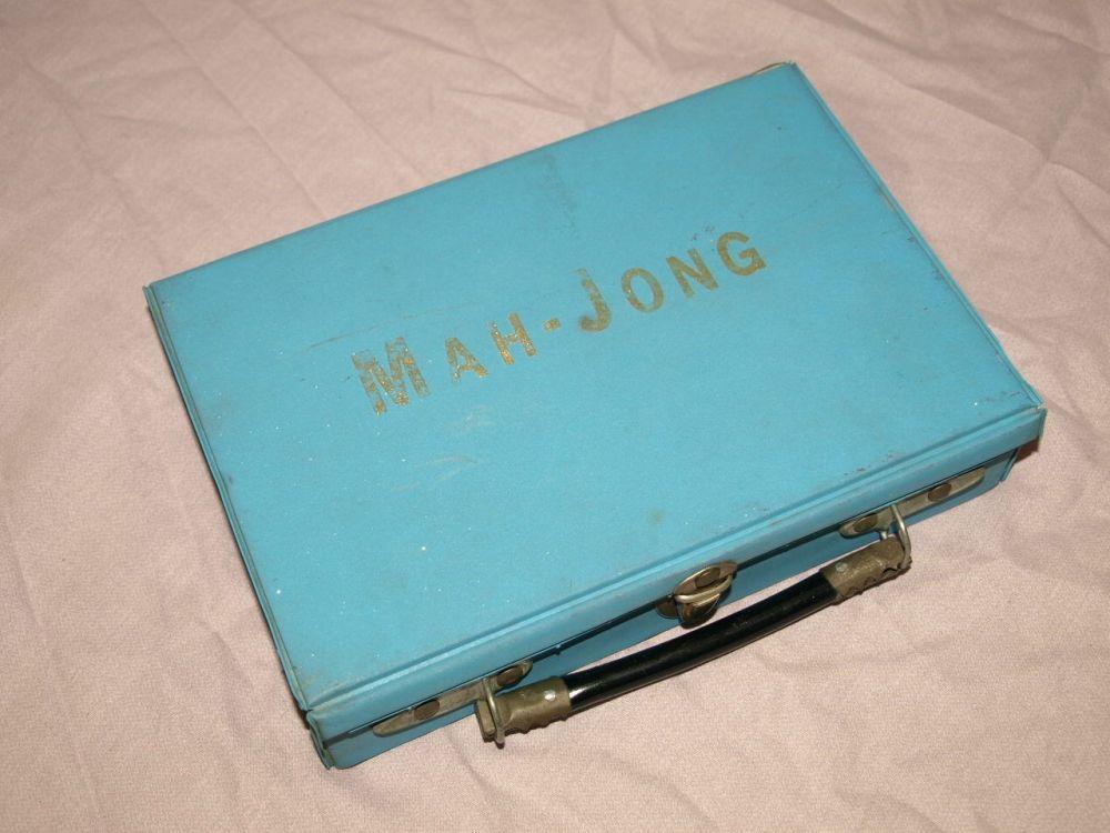 Vintage Mah Jong Set in Blue Carry Case.