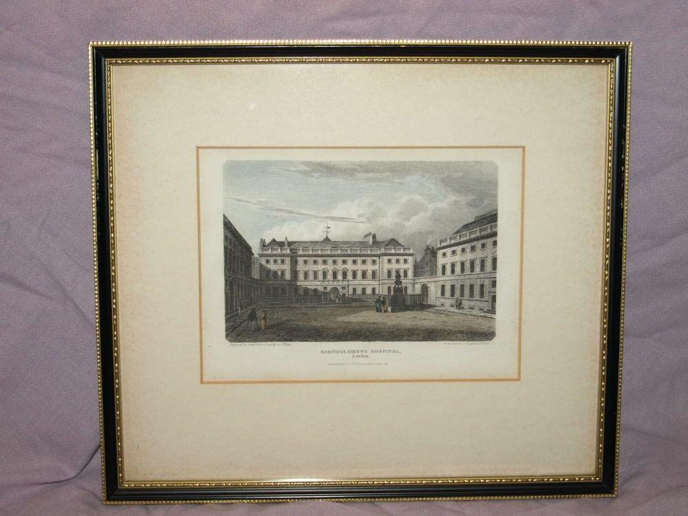 Bartholomew's Hospital London Framed Antique Print.