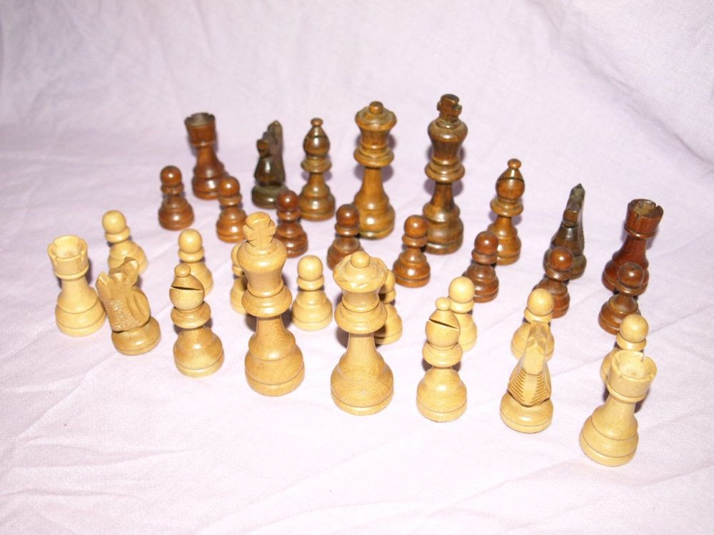 Vintage Wooden Chess Set with Case.