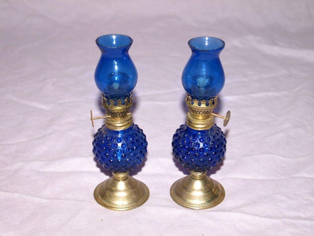 Pair of Vintage Blue Miniature Oil Lamps.