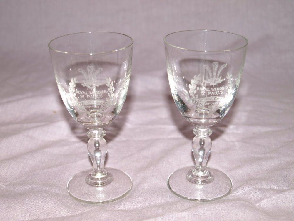 Pair of Charles & Diana Commemorative Wedding Glasses.