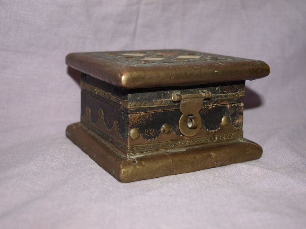 Small Wooden Box with Brass Decoration & Inlaid Tiles.